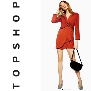 TOPSHOP Tall Horn Ring Detail Mini Shift Dress